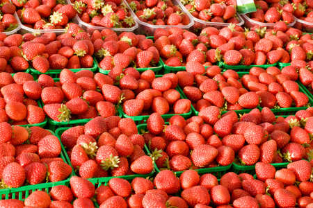 Fresh Strawberrys on display and for sale at farmers market