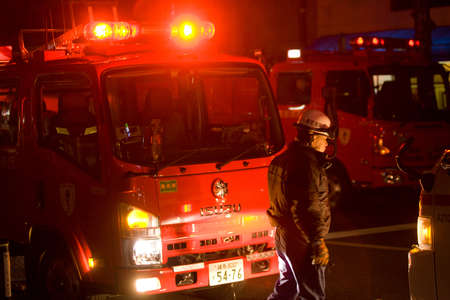 Shin Nakano, Tokyo, Japan, Feb 27, 2011   Fire engulfs building in Shin Nakano   Ward of Tokyo  in the early morning of Feb 27 2011   Old wooden structures, narrow laneways and difficult access makes fighting fires difficult in Tokyo   The Tokyo fire serv