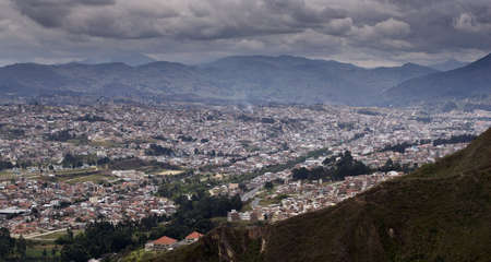 View overlooking Loja Ecuador, in a valley in the Andes Mountains