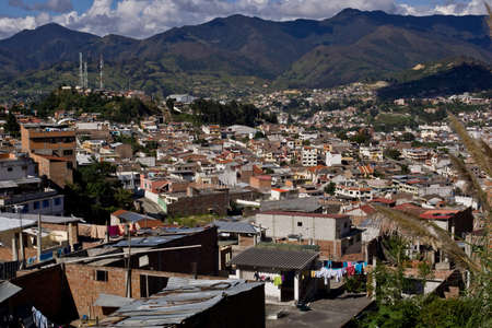 Loja Ecuador, view with Andes mountains, and blue sky