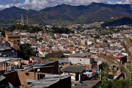 loja: Loja Ecuador, vista con monta�as de los Andes, y el cielo azul Foto de archivo