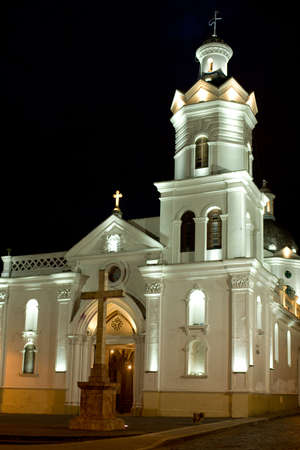 Colonial church at night in latin America Cuenca Ecuador Stock Photo