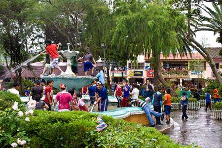 loja: VILCABAMBA LOJA ECUADOR, 09 de febrero 2013 Carnaval en Vilcabamba sur de Ecuador en febrero de 2013, incluye peleas de agua y espuma aerosol