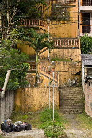 crumbling: Weathered concrete stairs with mold, faded paint ,crumbling Stock Photo