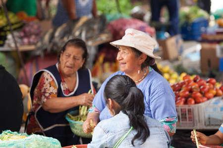 ZAMORA, ECUADOR, July 21 2013.  Sunday Market shopping in Zamora Ecuador April 27, 2013. Sunday markets are an important part of life in present day ecuador.