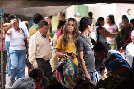 ZAMORA, ECUADOR, July 21 2013.  Sunday Market shopping in Zamora Ecuador July 21, 2013. Sunday markets are an important part of life in present day ecuador.