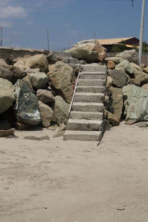 Concrete stair in sea wall