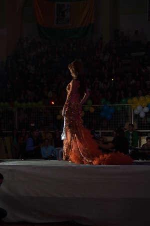 LOJA  ECUADOR,  AUGUST 30 2013  Yesli Bustamante de Macará competes in Reina de la provincia de Loja  Queen of Loja   August 30 2013 in Loja Ecuador  Electing Queens is a part of Ecuador Culture