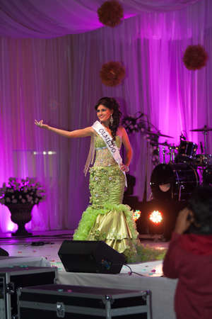 LOJA  ECUADOR,  AUGUST 30 2013  Erika Sánchez de Pindal competes in Reina de la provincia de Loja  Queen of Loja   August 30 2013 in Loja Ecuador  Electing Queens is a part of Ecuador Culture