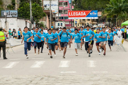 ZAMORA,ZAMORA CHINCHIPE ECUADOR, June 22 2014. Runners in a 5K run in southern Ecuador, Zamora, Zamora Chinchipe Circa June 22 2014. The governements of Ecuador promote fitness with events such as 5K runs
