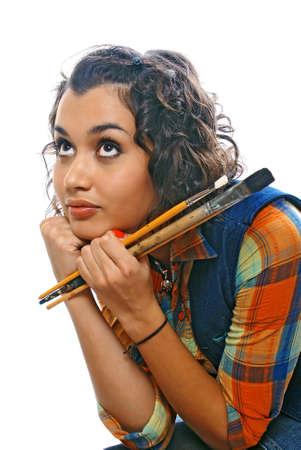 creativity artist: artista-girl con pinceles Foto de archivo