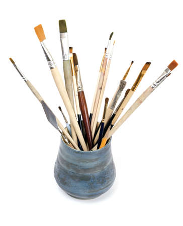 brushes in pot Stock Photo
