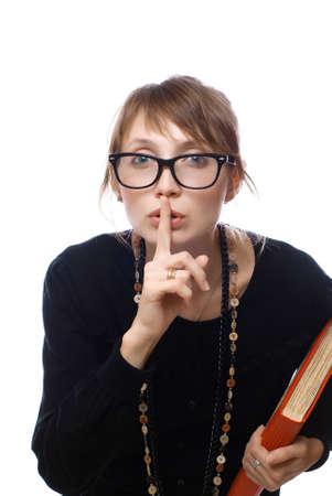 teacher with glasses asks silence photo
