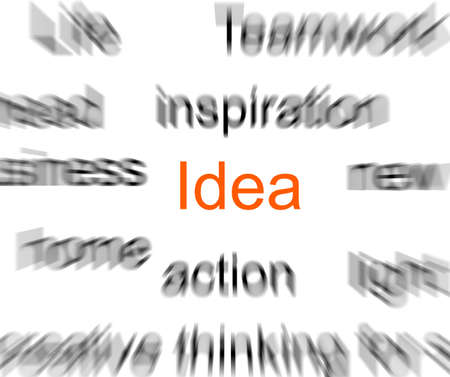 Blurred words with a focus on idea photo