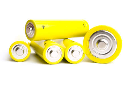yellow alkaline batteries isolated on white background photo