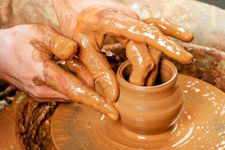 dexterity: potter at work Stock Photo