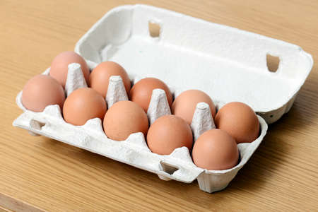 chicken eggs in box photo
