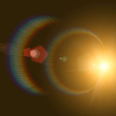 sun flares: Sun and Sun rays over a black Background