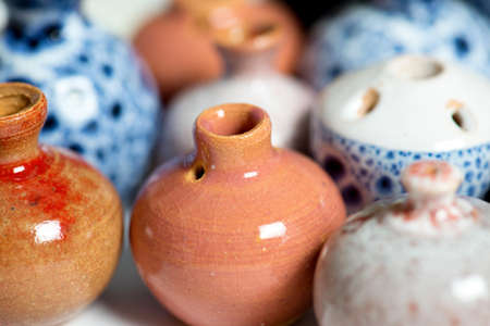 flea market: ceramic pots in glaze