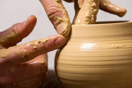 dexterity: potter, creating an earthen jar Stock Photo