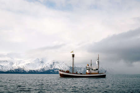 Boat in ocean. Iceland Stock fotó
