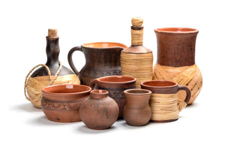 Ceramic tableware in milking technique. Hand-made