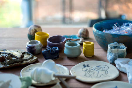 Glazed pottery in the workshop.