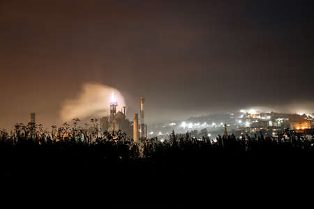 Giant industrial plant. Night view.
