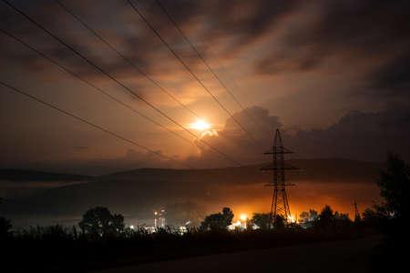 Power line at sunset. Electricity. Reklamní fotografie