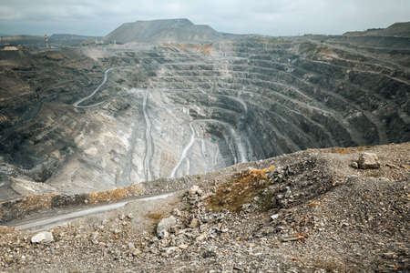 Mining in an open giant quarry Stock Photo
