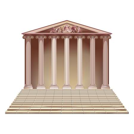 roman pillar: Historic building with a ladder. Illustration