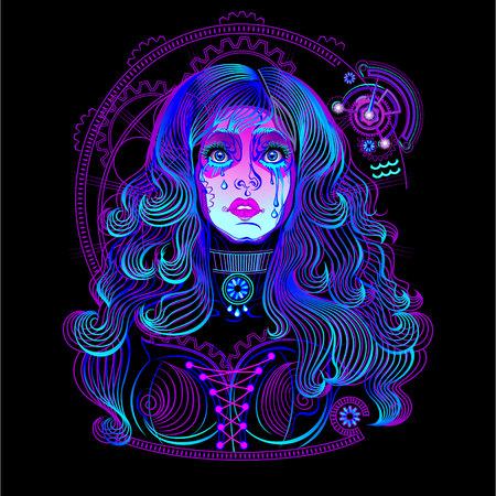 Crying girl. Fatto in neon art. Archivio Fotografico - 66904916