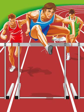 Vector Runner jumping hurdles.