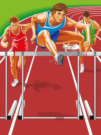 steeplechase: Vector Runner jumping hurdles.