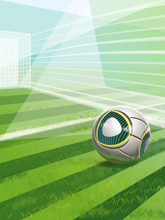 Campo di calcio vettoriale con obiettivo, palla e testo Archivio Fotografico - 66904922