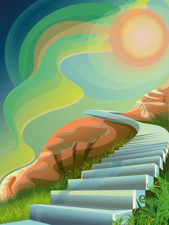 Background vector illustration: Ladder on Mount Olympus