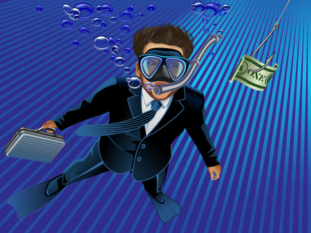 underwater scene: Underwater scene of a businessman taking the bait