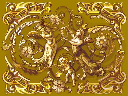 Cupido dorato e angeli con ornamento arabesco Archivio Fotografico - 66902909