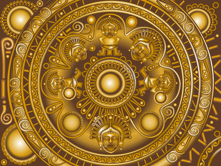 vector golden circle frame Maya.