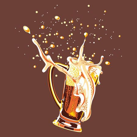 Vector glass of beer, painted in four colors. Illustration