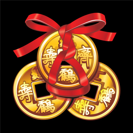 divination: Vector Chinese coin tied with red ribbon. A square within a circle of ancient Chinese coins.  Set talismans Fung Shui.