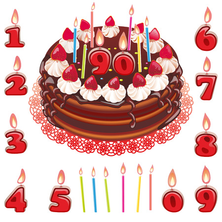 Vector Birthday chocolate cake with strawberries and candles. A set of candles from 0 to 9.
