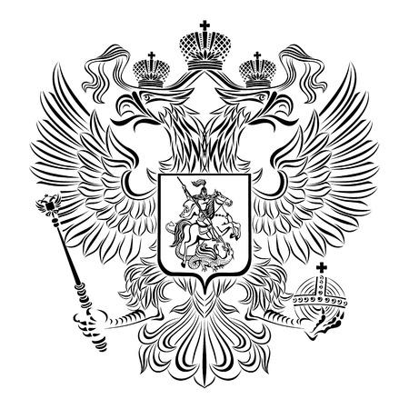Stemma classico vettoriale della Federazione russa su uno sfondo bianco. Archivio Fotografico - 66905000