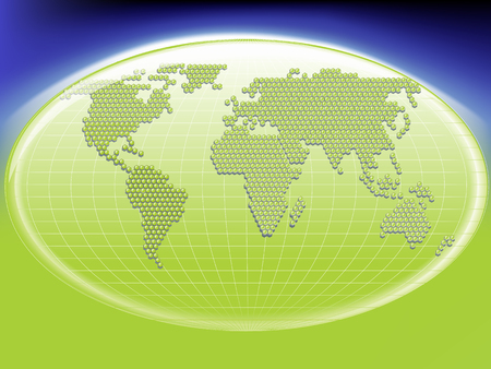 inter: Vector green international globe of the world made of small globes around a cell