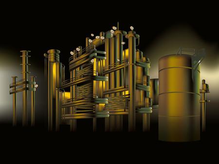 Moderna fabbrica di raffineria di petrolio di notte Archivio Fotografico - 66905042