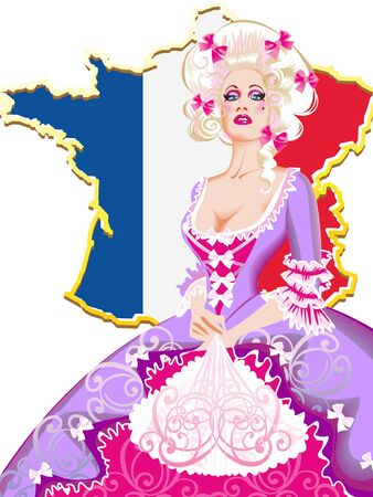 nobby: Madame de Pompadour lady-in-waiting on the background of a map of France