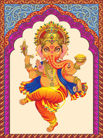 ornamented: Vector dancing Ganesha. Background color ornamented arch Indian patterns.