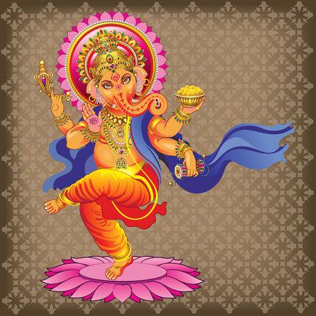 ornamented: Vector Ganesha on ornamented background Illustration