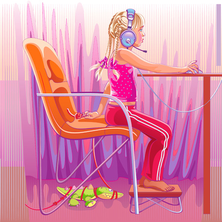Girl in headphones playing on the computer. Vectores