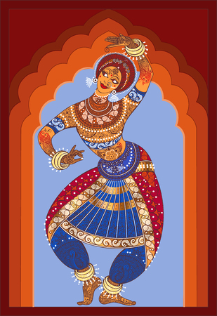 Stock Vector Indian girl dancing a national dance in national costume. Background arch. Illustration